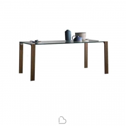 Tonelli Design Tisch Livingstand wood--with trasparent glass top