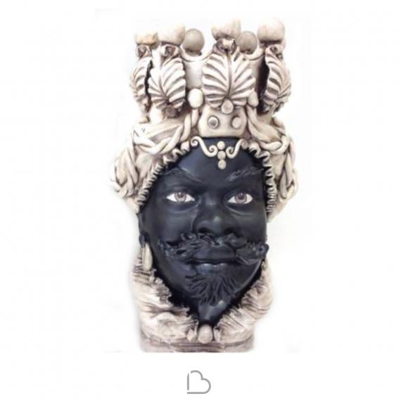 Teste Di Moro Caltagirone.Ceramique Sicilienne De Caltagirone Testa Di Moro Man Blanc Noir Verus