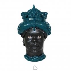 """Sicilian Ceramics of Caltagirone """"Testa di Moro"""" Man green Petroleum Verus"""