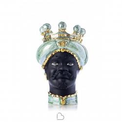"""Sicilian Ceramics of Caltagirone """"Testa di Moro"""" Lady Verde Ottanio Verus"""