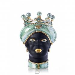 """Ceramiche Siciliane di Caltagirone """"Testa di Moro"""" Verus Ledy Green Madreperla/nero satinato oro"""