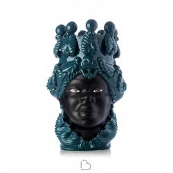 """Ceramiche Siciliane di Caltagirone """"Testa di Moro"""" Lady Ottanio/Nero satinato"""