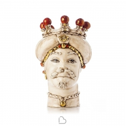 """Ceramiche Siciliane di Caltagirone """"Testa di Moro"""" Man Verus Bianco antico / Rosso e Gold"""
