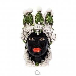 """Ceramiche Siciliane di Caltagirone """"Testa di Moro"""" Lady Verus Verde / Nero lucido"""