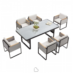 Garden set Higold Airport Table with 6 chairs