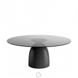Lago Round table Janeiro Grey Smoked Glass