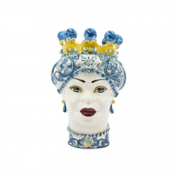 "Sicilian Ceramics of Caltagirone ""Testa di Moro"" Lady New Ornate Glossy White, Blue and Yellow"