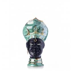 "Sicilian Ceramics of Caltagirone ""Testa di Moro"" Man Verus Green Mother of pearl, Black and Gold"