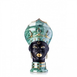 """Ceramiche Siciliane di Caltagirone """"Testa di Moro"""" Lady Verus Green Madreperla, Nero e Oro"""
