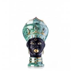 "Sicilian Ceramics of Caltagirone ""Testa di Moro"" Lady Verus Green Mother of pearl, Black and Gold"