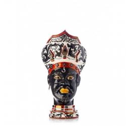 """Sicilian Ceramics of Caltagirone """"Testa di Moro"""" Man Verus White, Black and Platinum"""