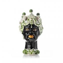 """Sicilian Ceramics of Caltagirone """"Testa di Moro"""" Man Verus Mod. B Green and White"""