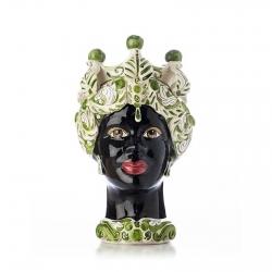 """Sicilian Ceramics of Caltagirone """"Testa di Moro"""" Lady Verus Mod. B Green and White"""