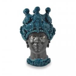 """Sicilian Ceramics of Caltagirone """"Testa di Moro"""" Lady Verus Verde Petrolio"""