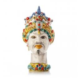 """Sicilian Ceramics of Caltagirone """"Testa di Moro"""" Man Verus Multicolor"""