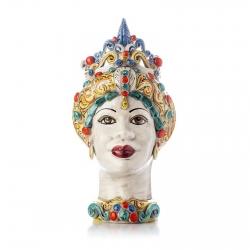 "Sicilian Ceramics of Caltagirone ""Testa di Moro"" Lady Verus Multicolor"