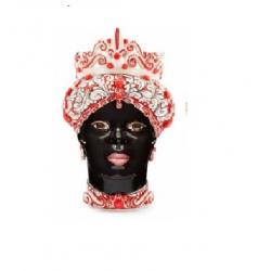 "Sicilian Ceramics of Caltagirone ""Testa di Moro"" Lady Red/Black"