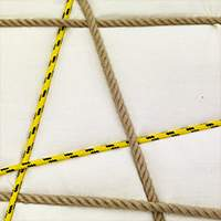 White fabric | Yellow and natural rope